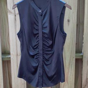 Theory sz L silk sleeveless top blue